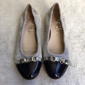 AGL Black and Blue Flats Shoes Size 38